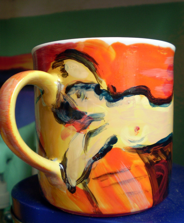Akt - ceramika artystyczna, malarstwo na gotowej kubku, ArsKinga - Kinga Pawełska