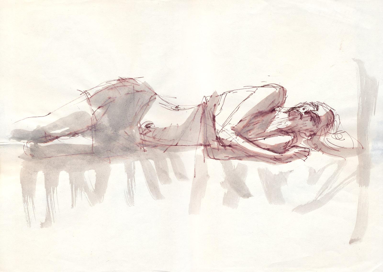 Biała postać - rysunek tuszem, format A3, ArsKinga - Kinga Pawełska