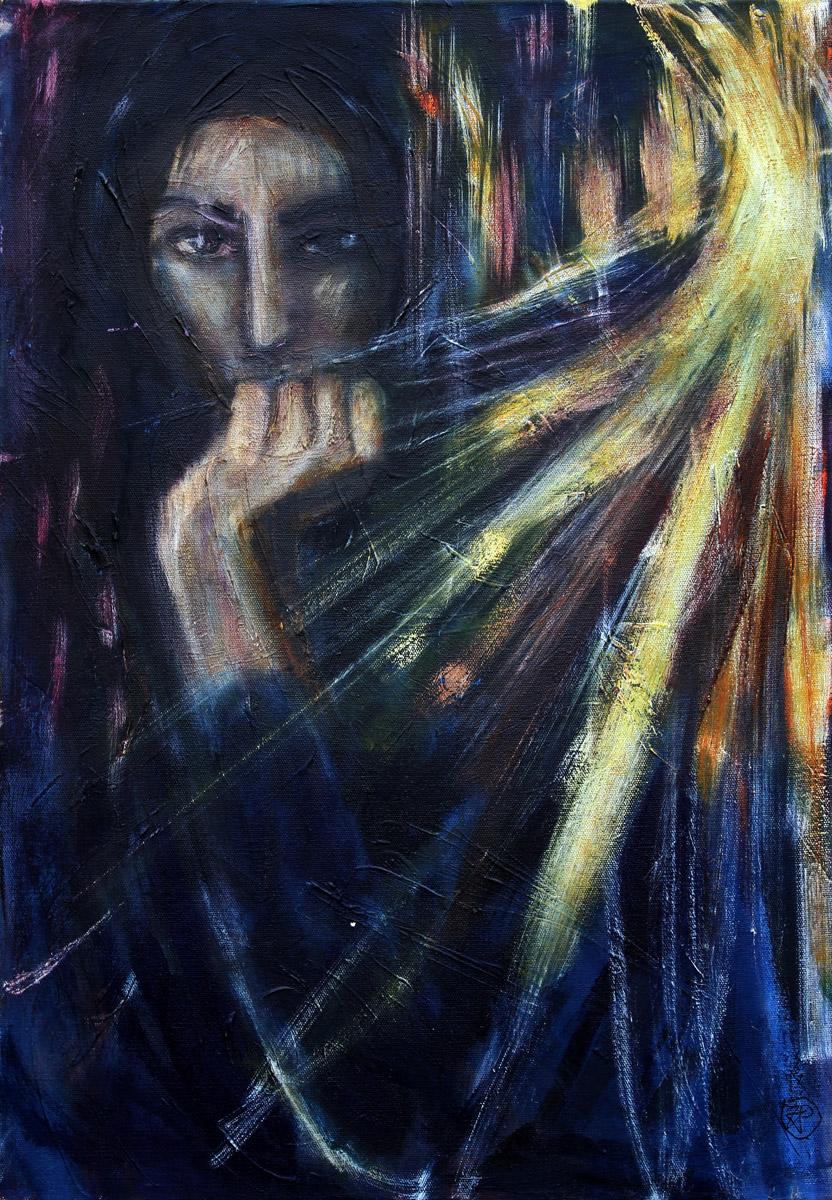 Cichy krzyk - obraz olejny na płótnie, ArsKinga - Kinga Pawełska