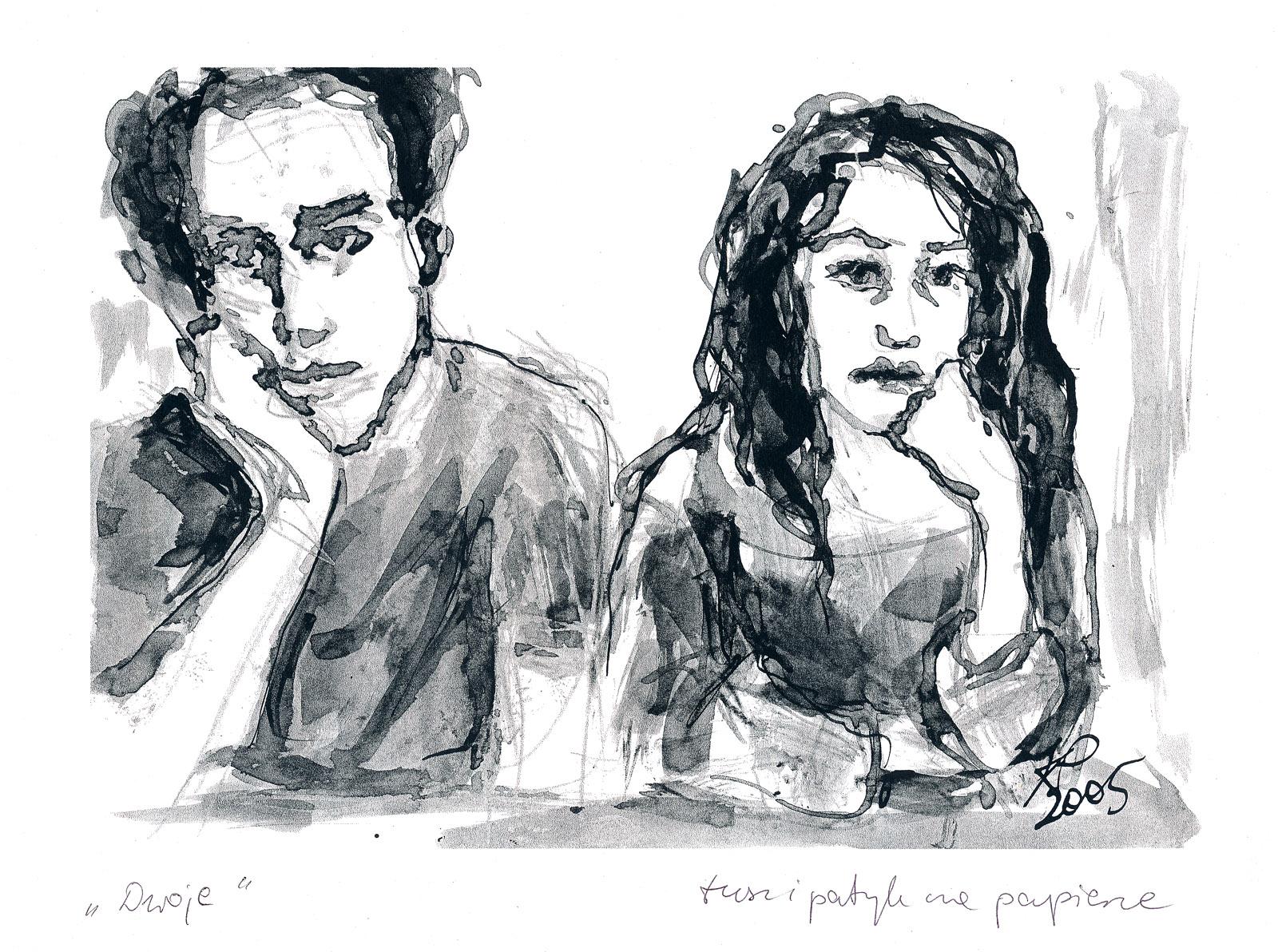 Dwoje - rysunek: tusz i patyk na papierze, ArsKinga - Kinga Pawełska