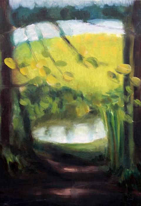 Jeziorko w lesie - obraz olejny na płótnie, ArsKinga - Kinga Pawełska