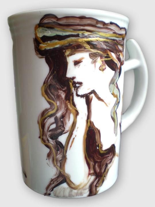 Kobieta - ceramika artystyczna, malarstwo na gotowym kubku, ArsKinga - Kinga Pawełska