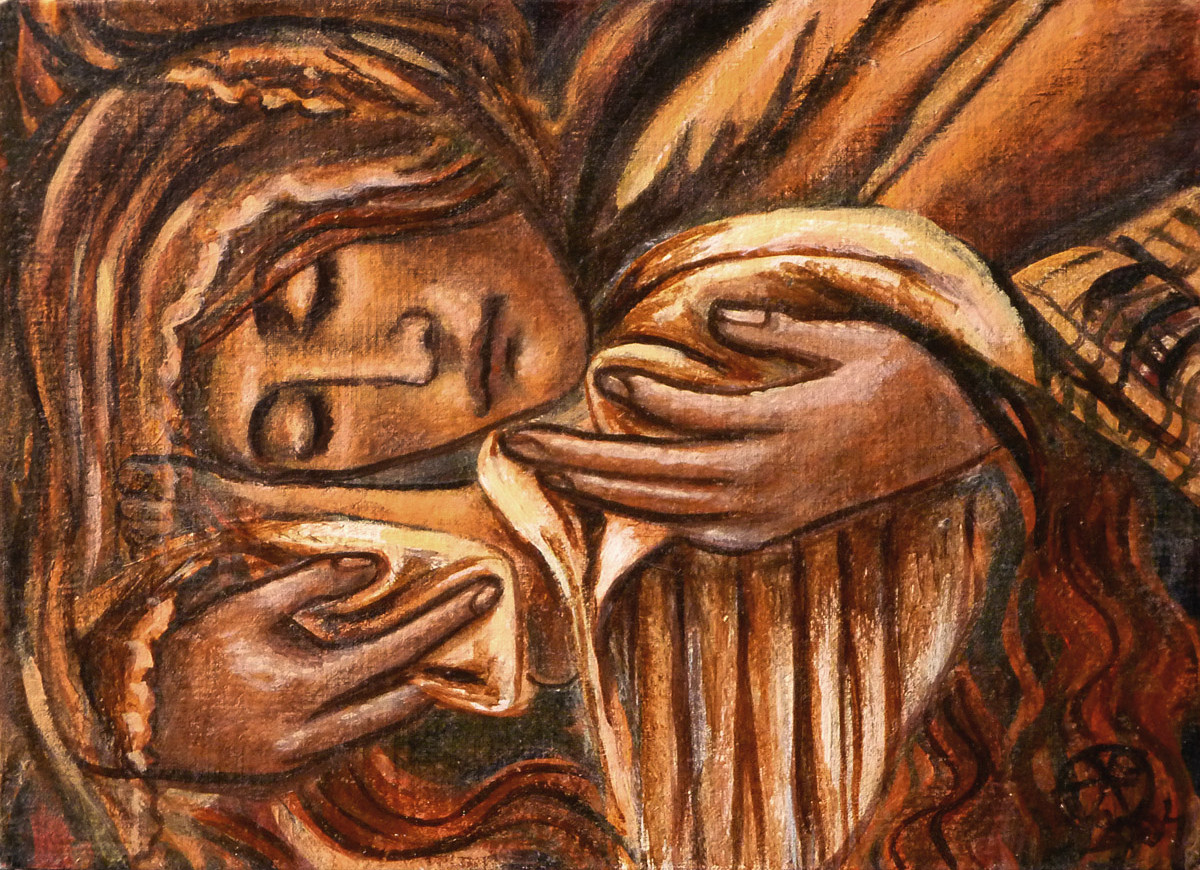 Maria Magdalena - fragment Piety - obraz akrylowy na desce, ArsKinga - Kinga Pawełska