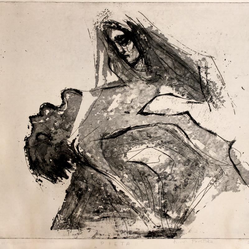 Pieta - grafika (akwaforta z akwatintą), ArsKinga - Kinga Pawełska