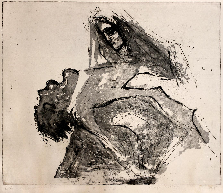 Pieta - grafika (akwaforta i akwafinta), ArsKinga - Kinga Pawełska
