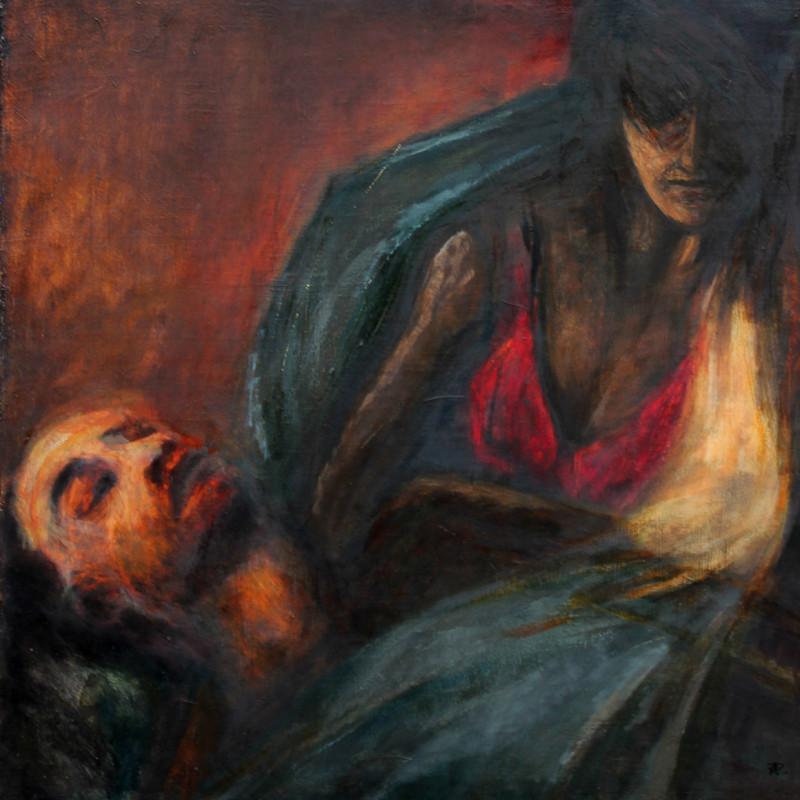 Pieta czerwona - obraz olejny na płótnie, ArsKinga - Kinga Pawełska