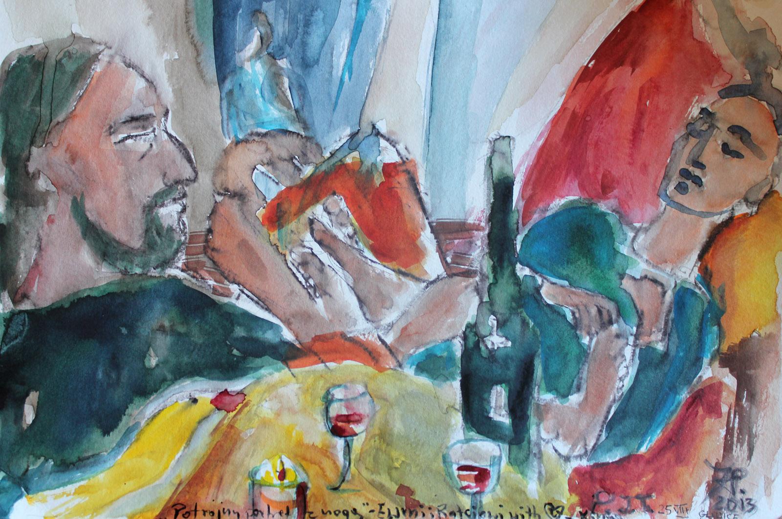 Potrójny portret z nogą - akwarela