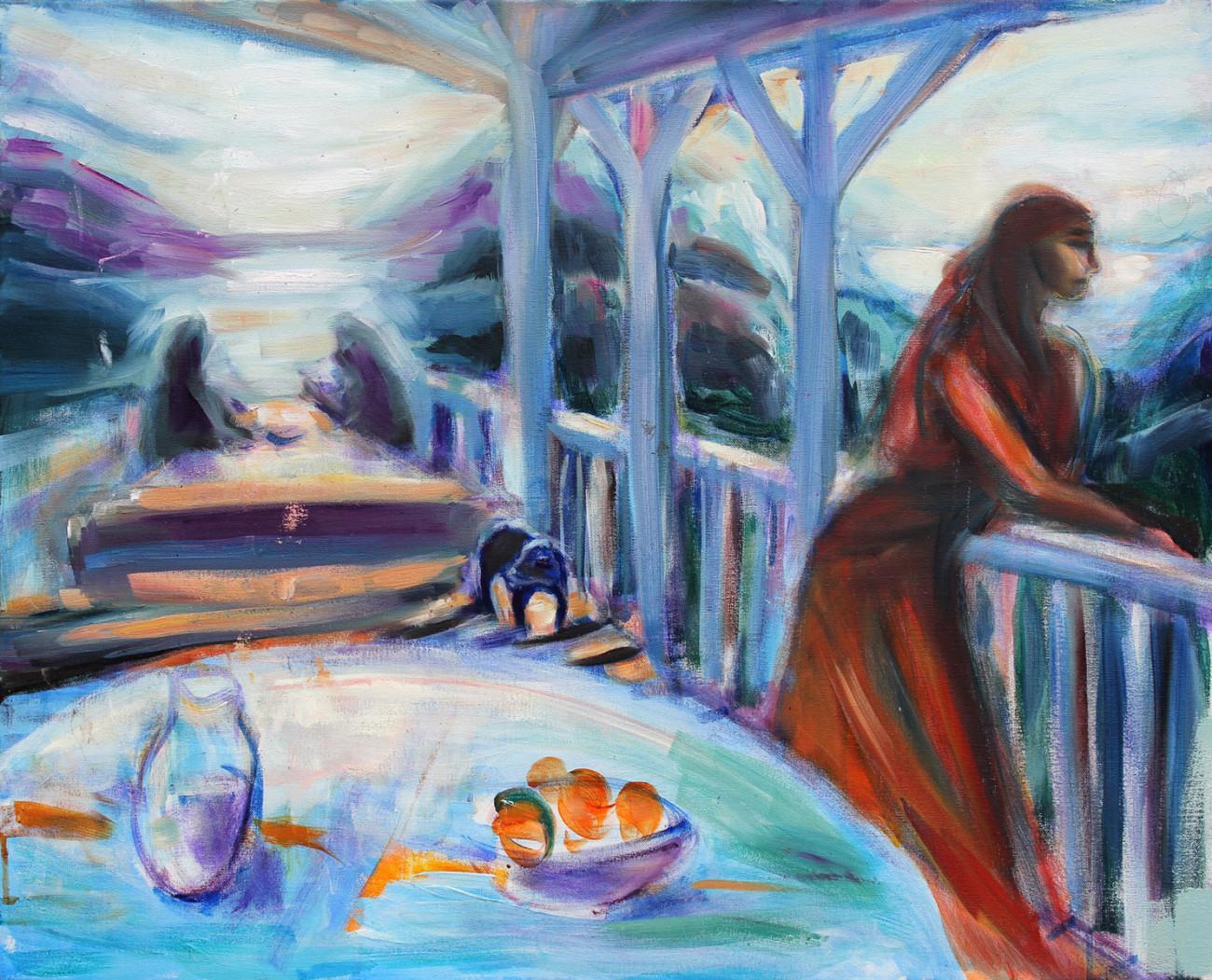 Weranda - obraz olejny na płótnie, ArsKinga - Kinga Pawełska