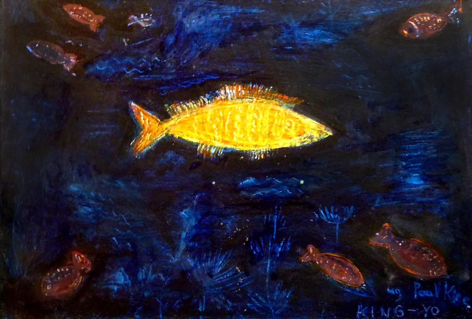 Złota rybka wg Paul'a Klee - grafika (technika mieszana), ArsKinga - Kinga Pawełska